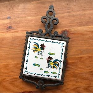 Hand Painted Vintage Ceramic Tile Chicken Trivet